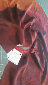 INSTOCK  READY2ASSEMBLE:  SINGLE  LARGE SHORTY  FAN!  36x20nches  in GARNET to  COPPER with PLUM WINE satin hand
