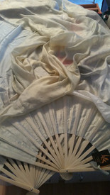 ORDERABLE:  STANDARD LONG FAN PAIR  5mm Silk Habotai  in VANILLA SPICE  with VANILLA  12mm satin HAND