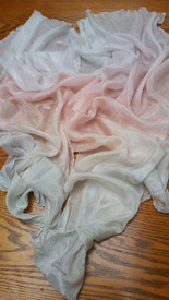 "InStock: PAIR Half Circle VOI veil, 5mm Silk Habotai 22x48"", AMBROSIA"