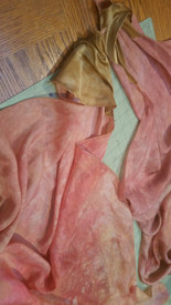 INSTOCK READY2SHIP: MED PAIR 22 x 45l RECTANGLE  8mm Silk Habotai VOI PAIR in APRICOT CLOUDS  simple pocket!