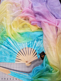 INSTOCK READY2SHIP:    5mm Silk Habotai Standard Long Fan Pair in, PASTEL RAINBOW with SKY HAND, Med Stave