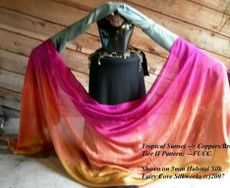 SPRING PREORDER VEIL OFFER 2017:  5mm Ultralight 3 yard Silk Belly Dance Veil, in COPPER SUNSET