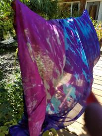 INSTOCK READY2SHIP:  5mm Ultralight 3 yard Silk Belly Dance Veil, in OOAK BLUE PURPLE OVERDYE