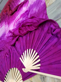 INSTOCK READY2SHIP:  STANDARD 60 inch Fan Pair in  VARIANT DARK GYPSY + PINKS  with AMETHYST 12mm Silk Satin Hand