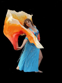 NEWLY OFFERED!:   5mm Ultralight 3 yard Silk Belly Dance Veil, in TONAL FADE ORANGE TO WHITE