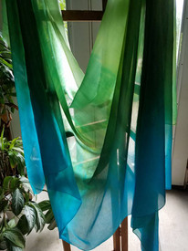 INSTOCK READY2SHIP:  5mm Ultralight 3 yard Silk Belly Dance Veil, in MISTRESS OF THE GARDEN  *2017 new!*