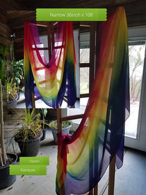 INSTOCK READY2SHIP:   **NARROW 36inch**  (91x274cm) 5mm Ultralight 3 yard Silk Belly Dance Veil, in CLASSIC RAINBOW