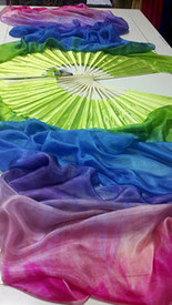 $99 Fan Offer: Long Pair of Fans--CHARTREUSE RAINBOW  with CHARTREUSE HAND  Med Stave, 36x60nches/1.52 m