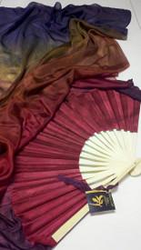 $99 Fan Offer: Standard Long Pair of 5mm Silk Habotai fans in, GOTHIC RAINBW  with GARNET HAND, Small/Medium Stave
