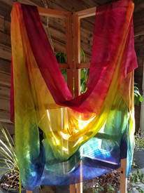 5mm 3Yard  INSTOCK READY2SHIP:  new!!  SULTRY RAINBOW   on 5mm Ultralight Silk 3 Yard Belly Dance Veil