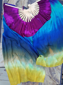 InStock Ready2Ship :  2AVAIL!  Flutters 42INCH MEDIUM STAVE Fan Pair in PEACOCK with MAGENTA HAND