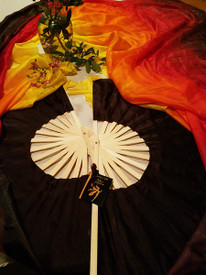 INSTOCK READY2SHIP:    XLONG 72inch Fan Pair in, BLACK FIRE  with BLACK  12mm SILK SATIN HAND