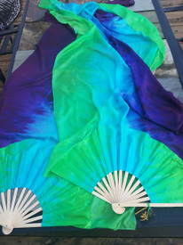 INSTOCK READY2SHIP:    XLONG 72inch Fan Pair in,  ISIS  with TURQUOISE & VIVID GRN  12mm SILK SATIN HAND