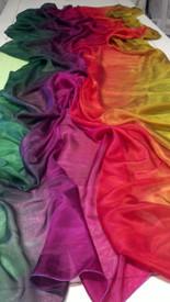 WINTER VEIL OFFER:   5mm Ultralight 3 yard Silk Belly Dance Veil, in EMERALD PROSPERITY SUNSET