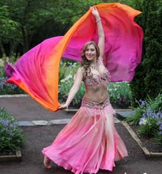 WINTER PREORDER VEIL OFFER:   5mm Ultralight 3 Yard Silk Belly Dance Veil, in AMARAS PINK TROPICAL SUNSET