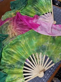 SPRING OFFER:   Fairy Cove Silks LARGE STAVE FAN PAIR    FLUTTERS -- 20-45INCH  CHOOSE YOUR COLORS