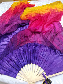 FANS PAIR Instock MED 60INCH  Ready2Ship:  Standard Long Fan Pair in TROPICAL SUNSET + GOLD and 12mm DARK ORCHID SATIN  HAND