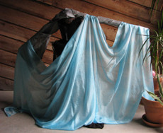 5mm Ultralight 3 yard Silk Belly Dance Veil, in POWDER BLUE