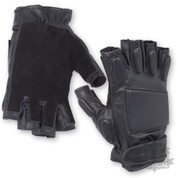 Tactical Black Padded Fingerless Gloves