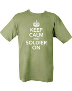 Military Printed Keep calm & T Shirt Olive Green