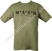 Military Printed MASH T Shirt Olive Green