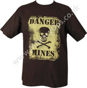 Military Printed Danger Mines T Shirt Black