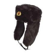 Military Russian Cossack Hat with Badge Black