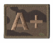 A + Plus Blood Group Patch Velcro Back Multicam MTP