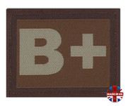 B + Plus Blood Group Patch Velcro Desert Tan