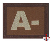A - Minus Blood Group Patch Velcro Desert Tan