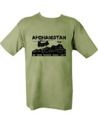 Military Printed Afghanistan T Shirt Olive Green