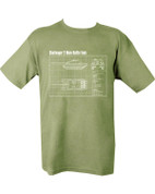 Military Printed Challenger 2 Tank T Shirt Olive Green