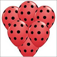12cm Small Big Polka Dots Red with Black Ink Latex Balloon each