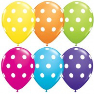 12cm Small Polka Dots Tropical Assortment with White Dots Latex Balloon each