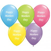 28cm Mothers Day Script Assorted Pink  Pale Blue Yellow  Lime Green and Lavender Latex Balloon