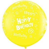 Large Happy Birthday Swirls Yellow Balloon 90cm Latex