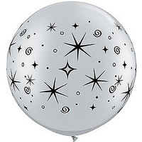 Large Sparkles and Swirls Silver Balloon 90cm Latex