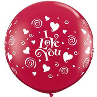 Large I Love You Ruby Red Balloon 90cm Latex
