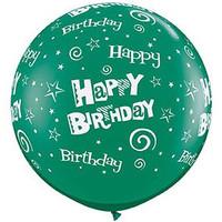 Large Happy Birthday Swirls Green Balloon 90cm Latex