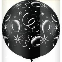 Large Sparkle Balloon Black Balloon 90cm Latex