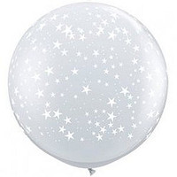 Large Small Stars Clear Balloon 90cm Latex