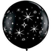 Large Sparkles and Swirls Onyx Black Balloon 90cm Latex