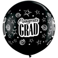 Large Congrats Grad Onyx Black Balloon 90cm Latex