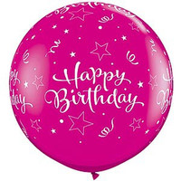 Large Happy Birthday Wild Berry Balloon 90cm Latex