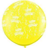 Large Happy Birthday Yellow Balloon 90cm Latex