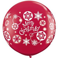 Large Merry Christmas Ruby Red Balloon 90cm Latex