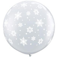 Large Snowflakes Clear Balloon 90cm Latex