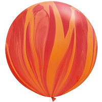 Large Superagate Red Orange Rainbow Balloon 90cm Latex
