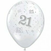 12cm Small No:  21 Around Jewel Diamond Clear Latex Balloon Pack of 100