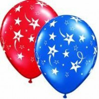 28cm Shooting Stars & Stars Around Ruby Red & Sapphire Blue Assorted Latex Balloon Pack of 50 - BULK